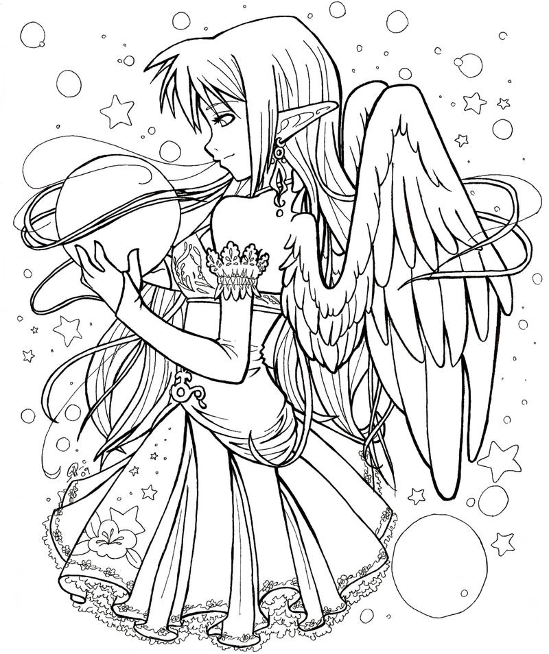 Elf angel art trade by angelnablackrobe on deviantart for Anime angel coloring pages