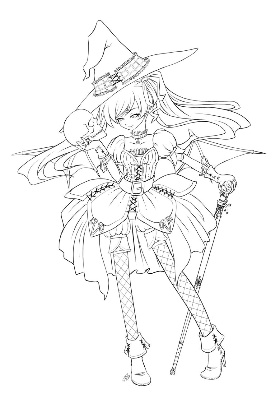 Halloween queen lineart by angelnablackrobe on deviantart for Girl angel coloring pages