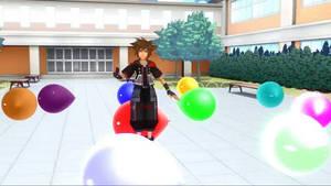 Sora sit pops balloons