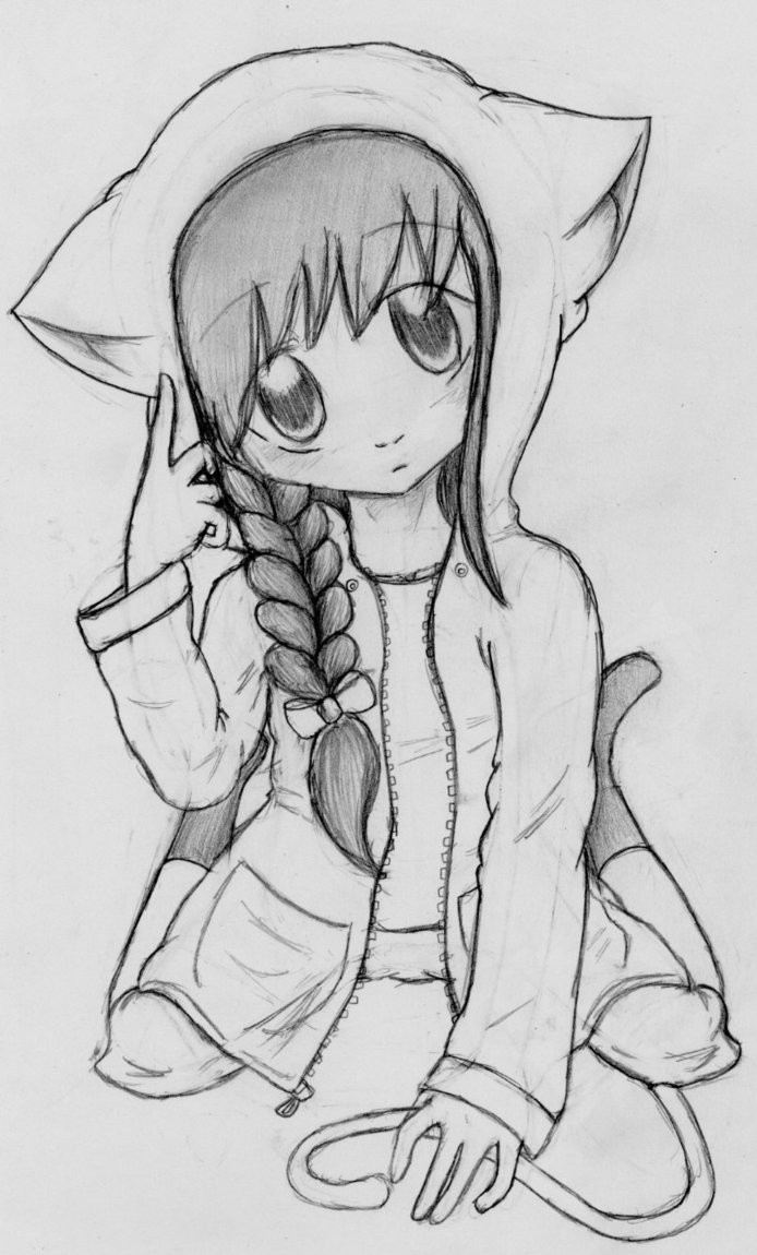 Anime Girl Cat Hoodie Cat girl hoodie byHow To Draw Anime Girl With Hoodie