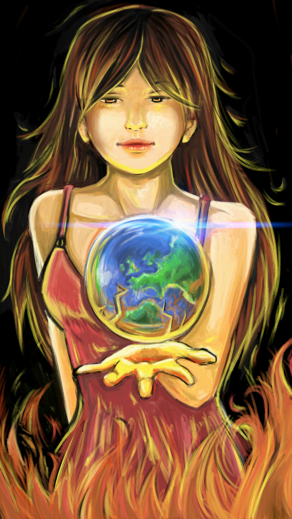 girl holding the planet whilst on fire haha by StandardOil on DeviantArt for Girl Holding Fire Drawing  584dqh