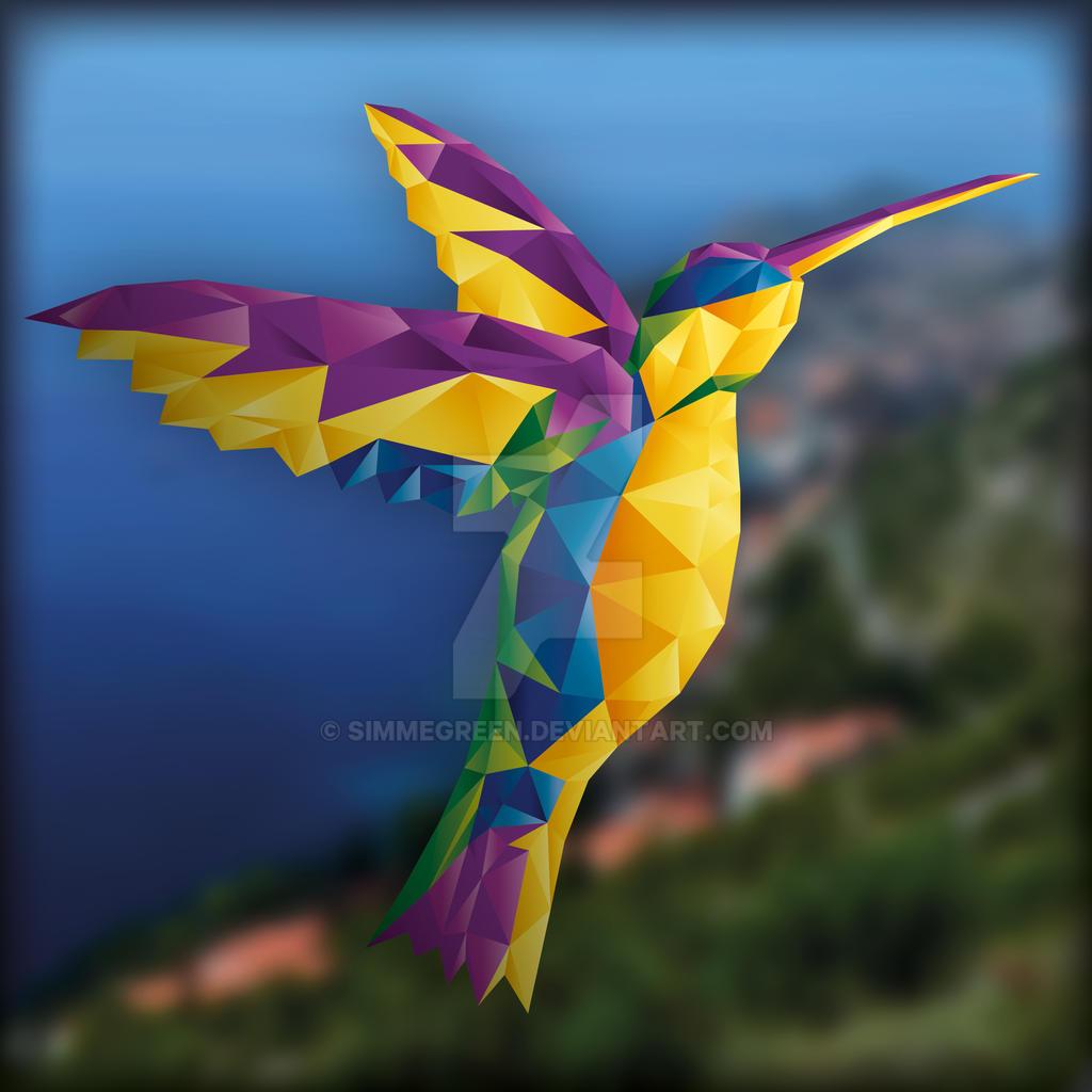 Polygonkolibri - colorful by SimmeGreen