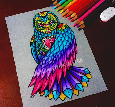 Day of the Dead Owl - Commission