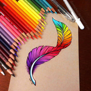 Rainbow Feather - Commission