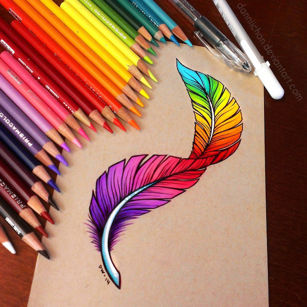 Rainbow Feather - Commission by danniichan