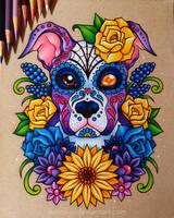 Sugar Skull Puppy - Commission by dannii-jo