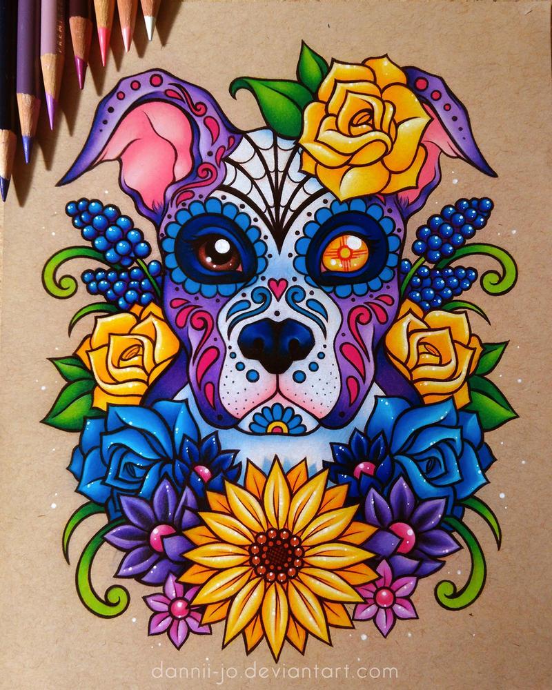 sugar skull puppy commission by danniijo on deviantart