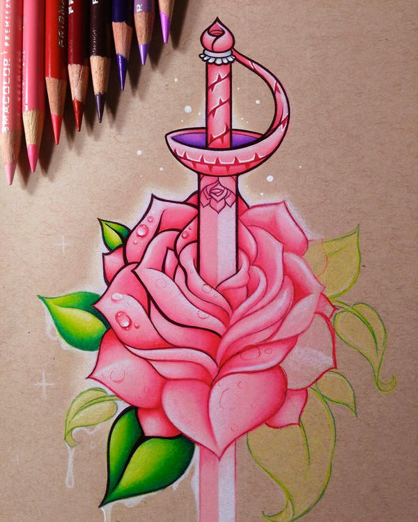 how to draw a sword in a rose