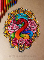 Snake and Roses - Commission
