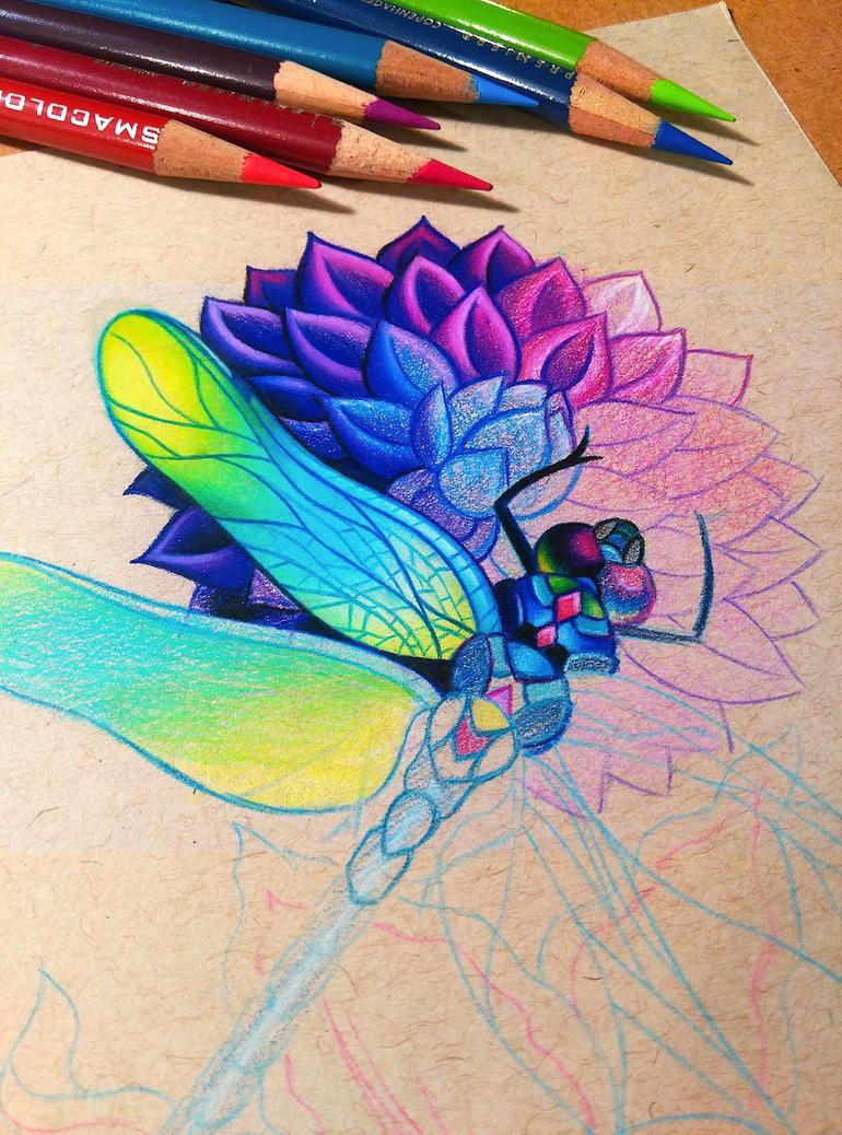 Dragonfly and Dahlia - WIP by dannii-jo