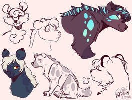 Hyena sketches by Calicocoin