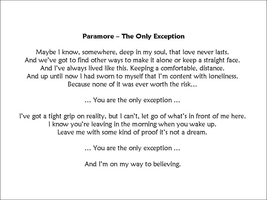 The Only Exception Lyrics - Carterdigital.club