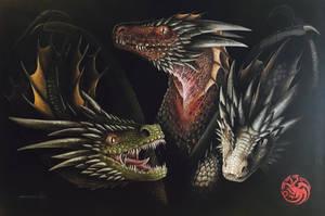 Daenerys Targaryen's dragons by cdextermurals
