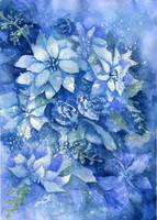 Blue Poinsettias by dragonarts
