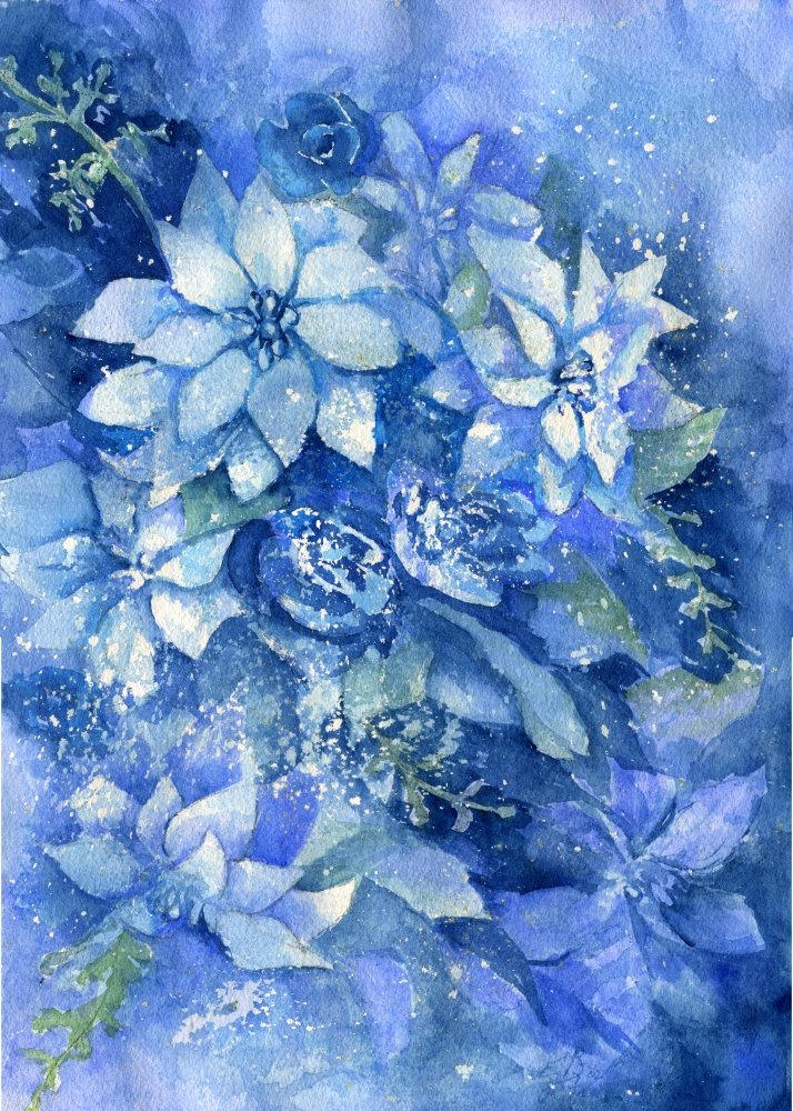 Blue Poinsettias by dragonarts
