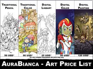 Aura Bianca - Art price List