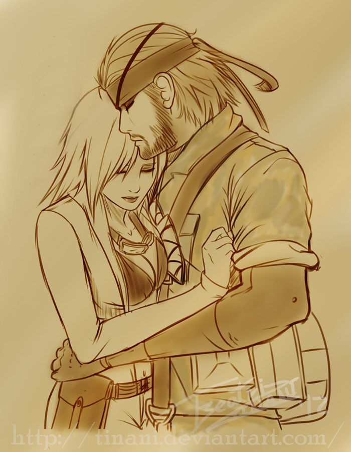 Sketch - EVA and Naked Snake by Tinani