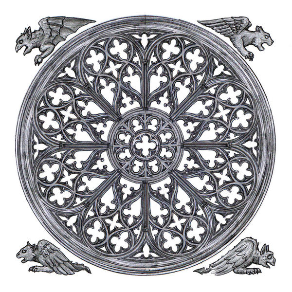 rose window white w gargoyles by dashinvaine on deviantart