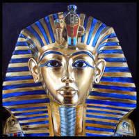 Gold mask of Tutankamun by dashinvaine