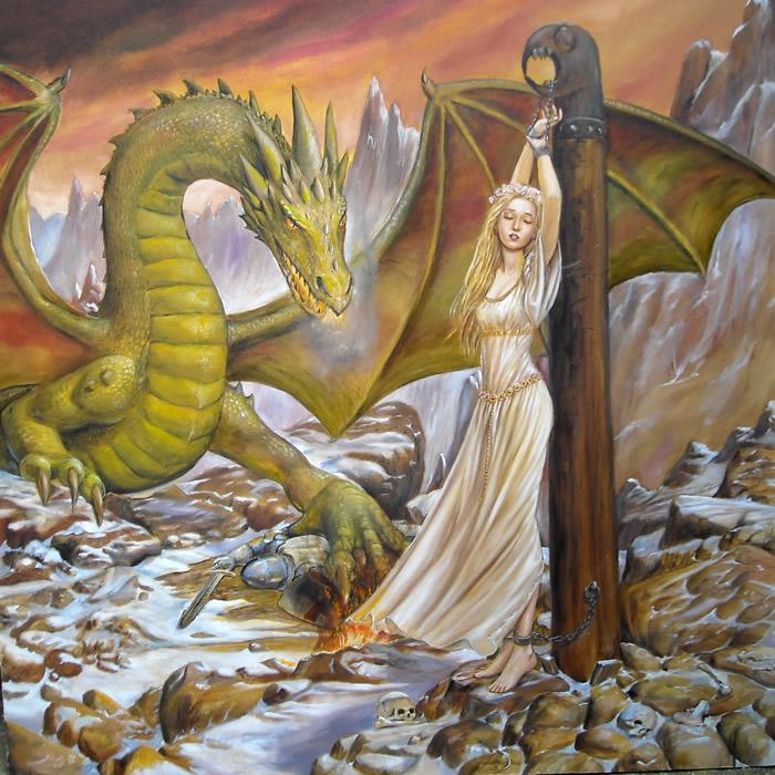 A maiden sacrifice to a dragon.