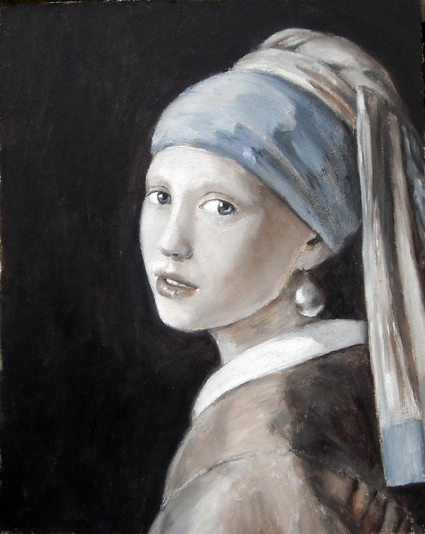 Girl with Pearl after Vermeer by dashinvaine