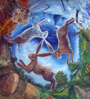 Three Hares painting by dashinvaine