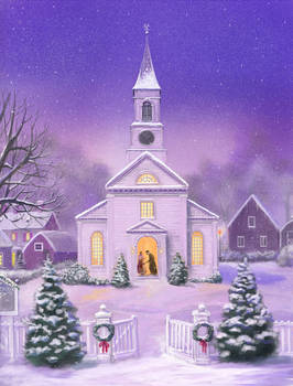 American Church Christmas Scene