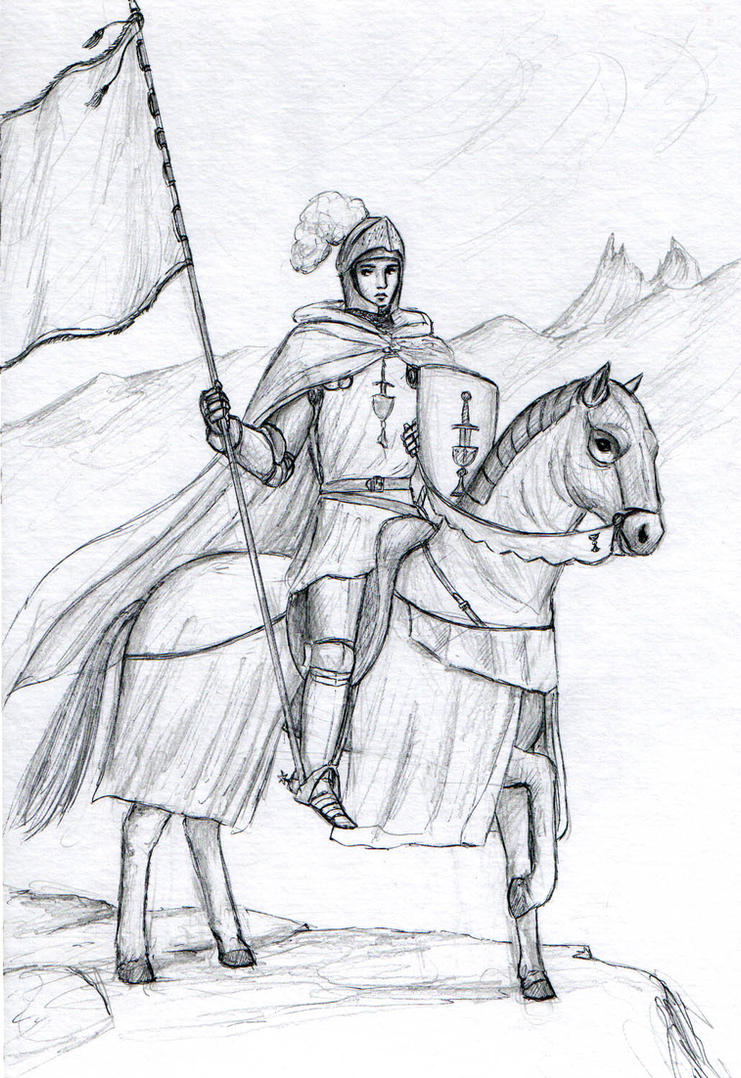 Mounted Knight Jpg 741x1077 Knight Horse Drawings