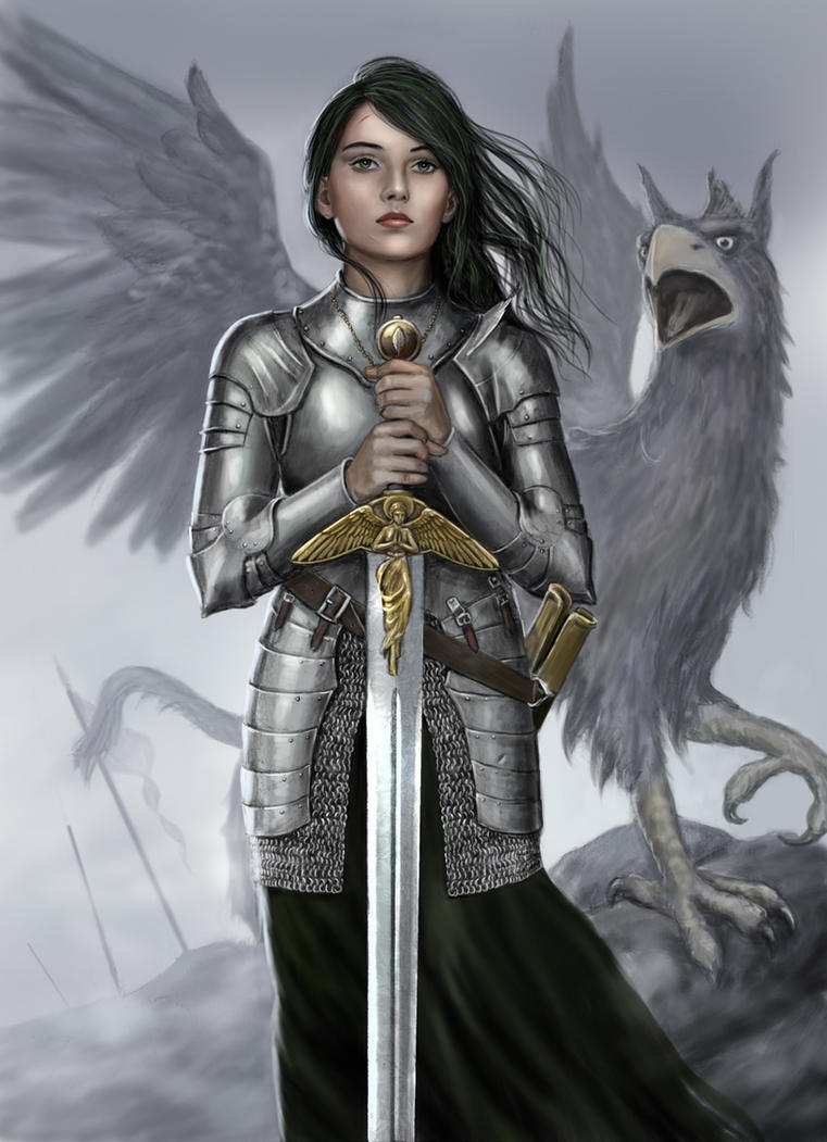 Female Knight and Griffin by dashinvaine