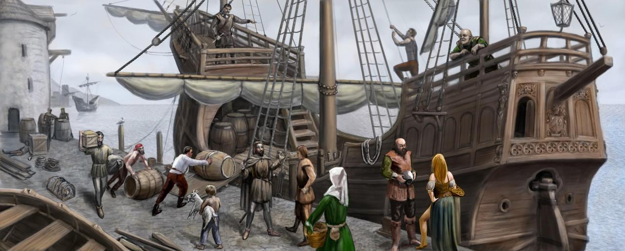 Merchant Ship scene by dashinvaine