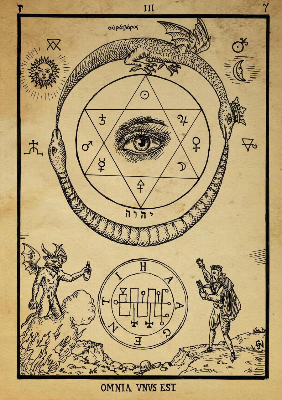 Alchemy woodcut Omnia Unus Est by dashinvaine