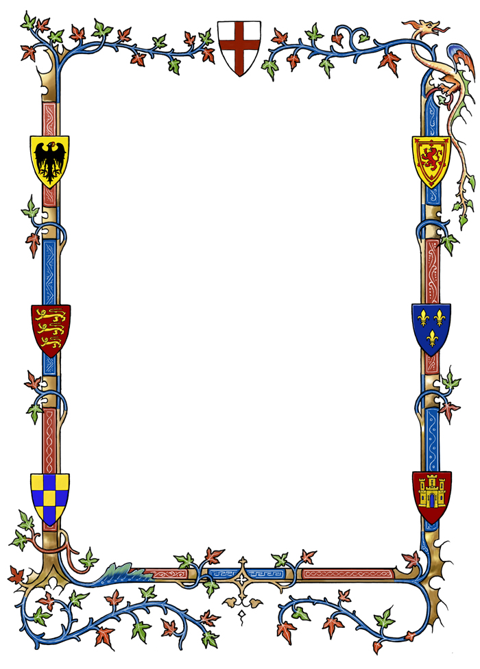 Medieval border with heraldry