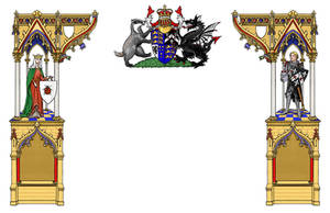 Gothic frame thing with heraldry