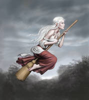 Kseniya on Broomstick by dashinvaine