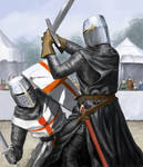 Duelling Knights In Helms