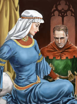 Medieval lady and suitor