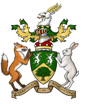 Heraldry with fox and rabbit