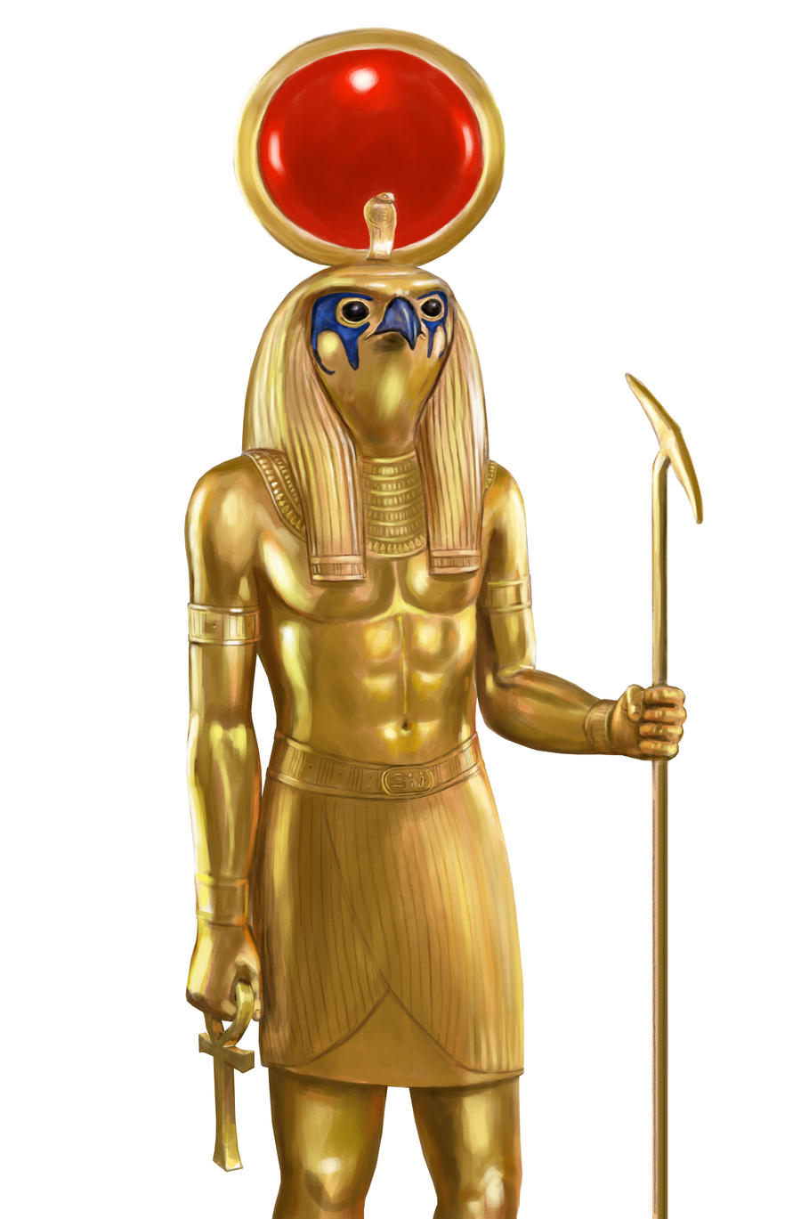 Ra gold statue on white