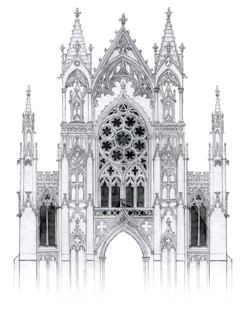Gothic facade with rose window by dashinvaine on deviantart for Building window design