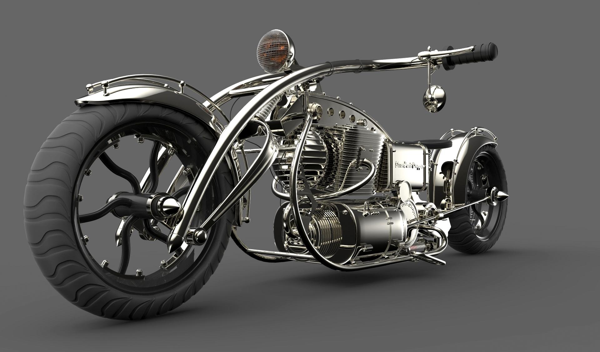 Motocicleta Chopper by juliopires3d