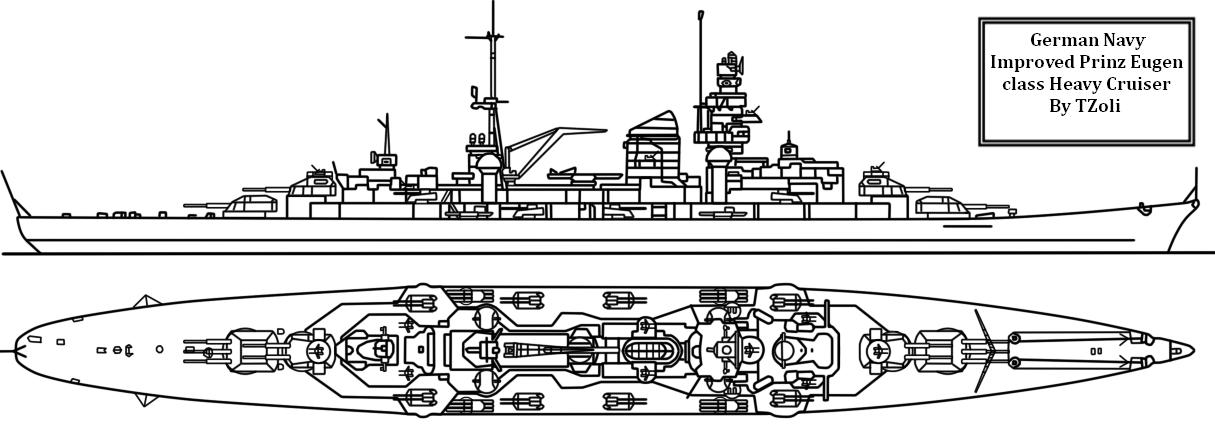 Improved Prinz Eugen Heavy Cruiser by Tzoli