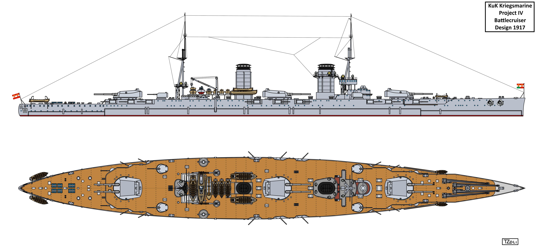 Austro-Hungarian Project IV Battlecruiser Design by Tzoli