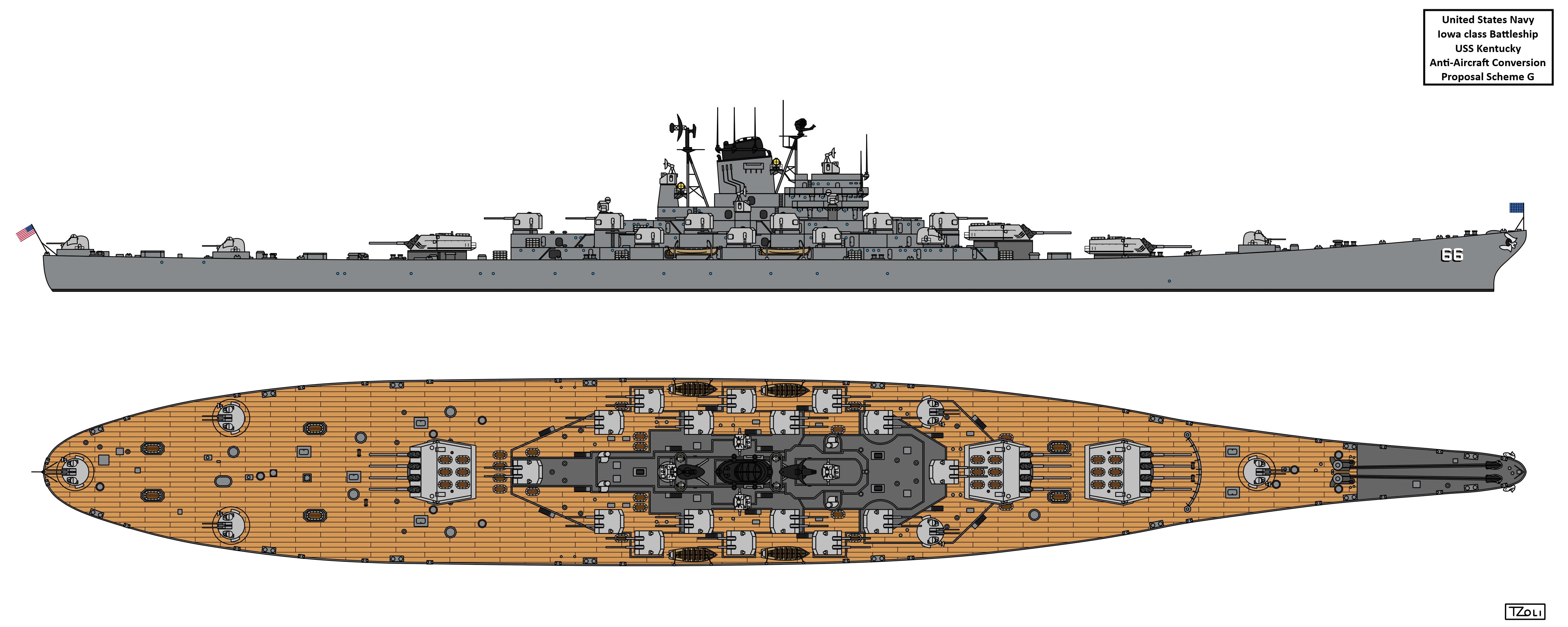 Anti-Aircraft Cruiser-Battleship USS Kentucky by Tzoli