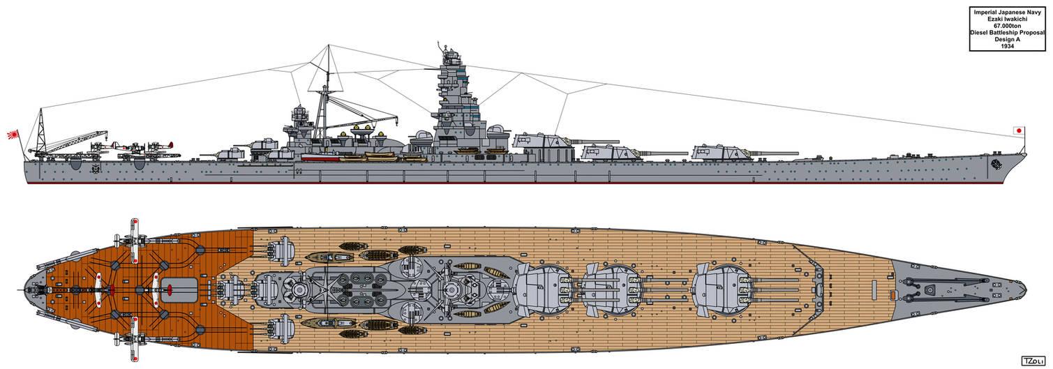 Ezaki Iwakichi Battleship Design A by Tzoli on DeviantArt Modern Us Battleship Design