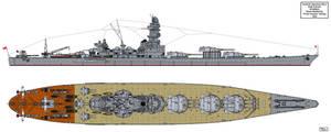 Keiji Fukuda's 55.000ton Battleship Design by Tzoli