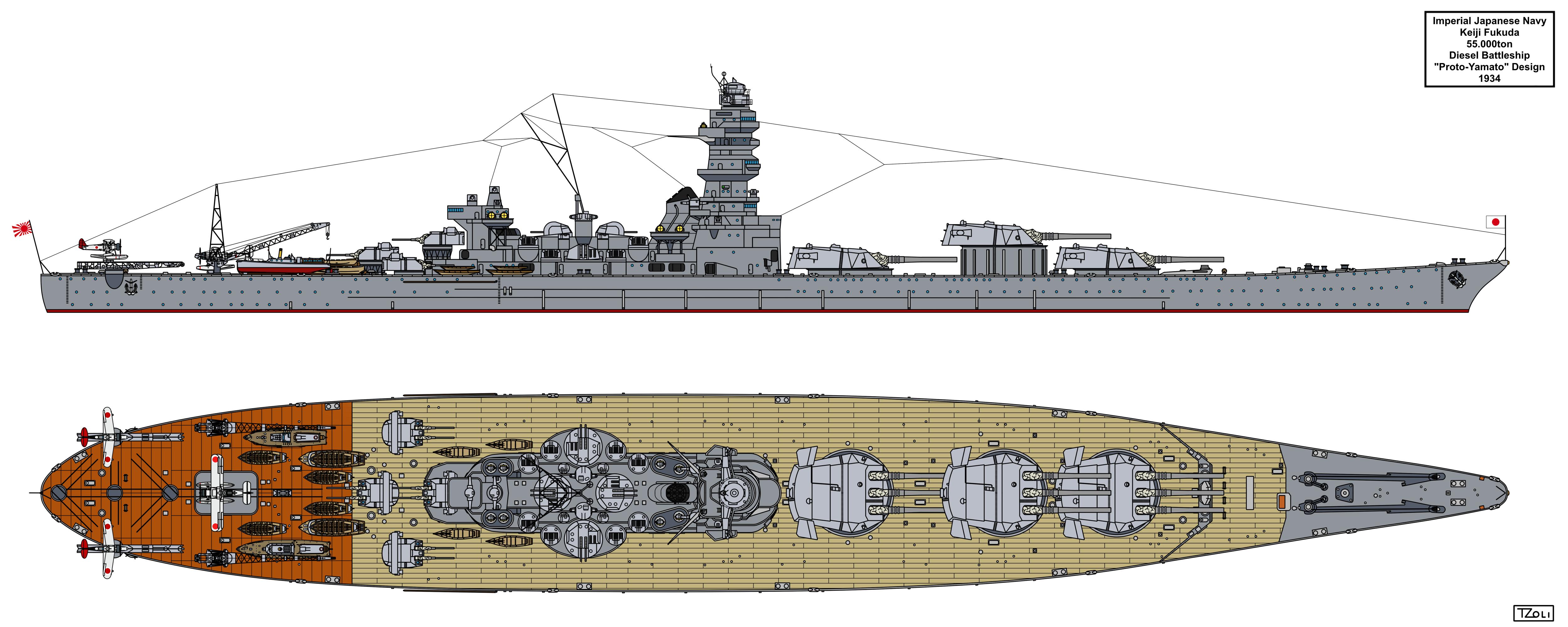 Keiji Fukuda's 55.000ton Battleship Design