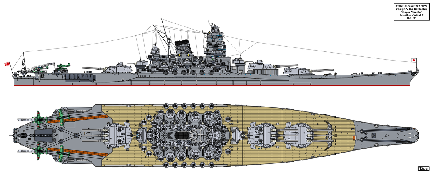 A-150 Super Yamato class possible variant E by Tzoli