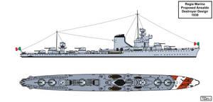 Italian Destroyer Design 1939 by Tzoli