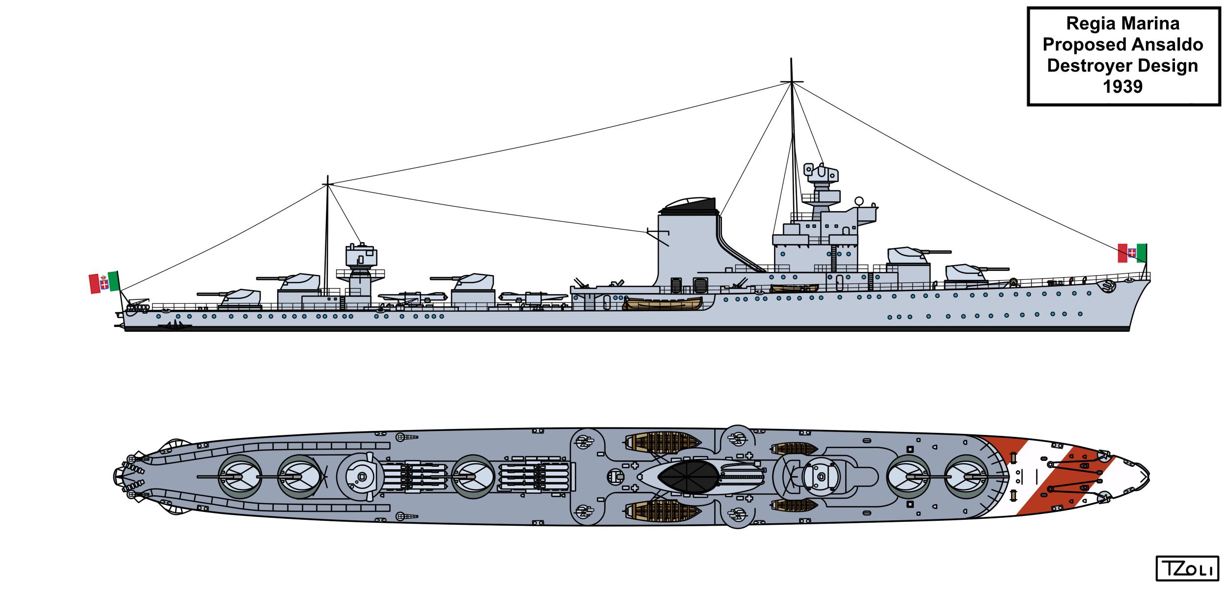 Ansaldo 1939 destroyer design