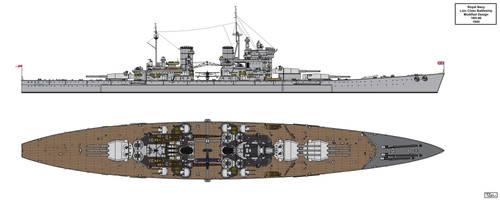 Modified Lion Class Battleship Design 16H-40 by Tzoli